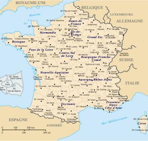 Carte des départements de France cliquable sur FileMaker